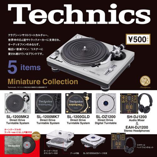 Technics Miniature Figure Turntables Audio Mixer DJ Capsule Toy 5pcs & LP New FS