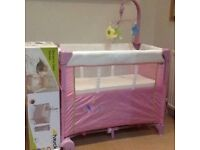 Hauck Dream 'n care centre cradle /bassinet/ travel cot in pink