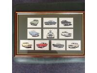 Mustang Cars cigarette postcard framed picture.