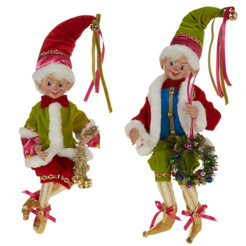 "2-PK 16"" Colorful POSABLE ELF Christmas 3802261 RAZ Imports NEW FaBuLouS WOW"