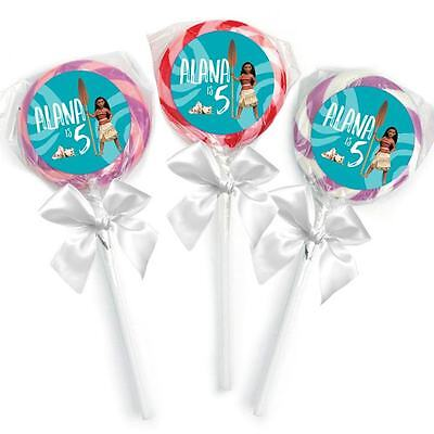 24 Moana Movie Birthday Party Favors Personalized 1.65 inch Lollipop Stickers](Movie Party)