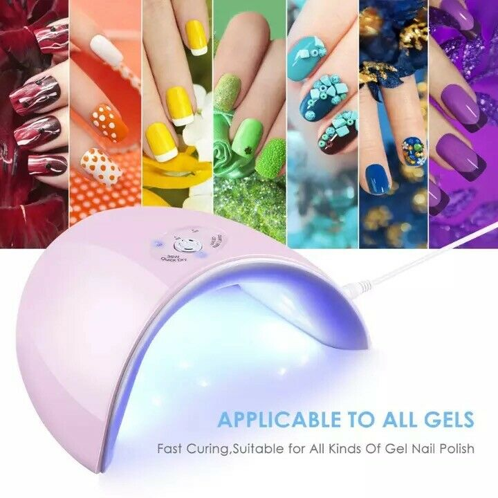 36W LED UV Nail Polish Dryer Lamp Gel Acrylic Curing Light Spa Professional Kit