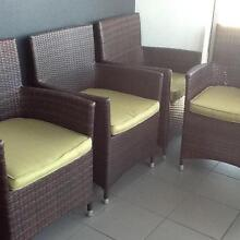 Outdoor (8) wicker brown chairs and Avacado cushions plus table f Hamilton Brisbane North East Preview