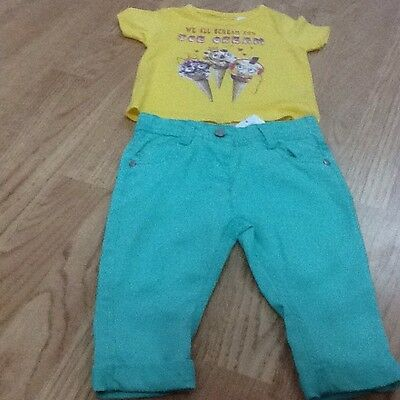 Size 6-9 Months Yellow Ice Scream T-Shirt & Green Trousers - Brand New