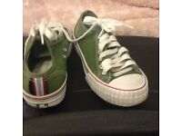 PF Flyer Trainers-Size 5 1/2-Low Style-Green & White-Only£8