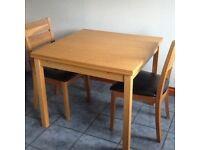 IKEA oak extending table 90x90 to 166x90