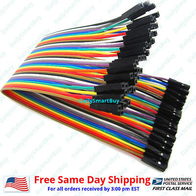 40pcs 20cm 2.54mm Female To Female Dupont Wire Jump Jumper Cables For Arduino