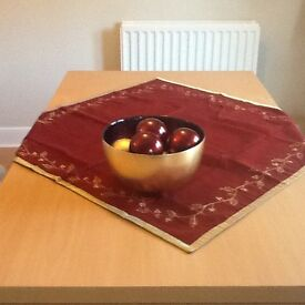 Large glass gold/red Christmas bowl