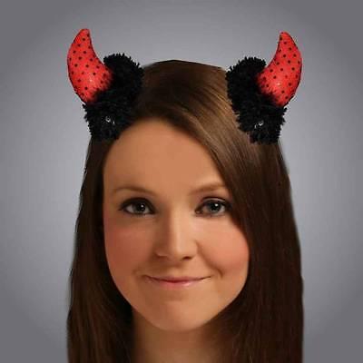 Deluxe Clip On Sequin Devil Horns Halloween Ladies Fancy Dress - Clip On Devil Horns