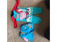 Boys All in One Swimsuit and Brand New Swim Shorts with Tags both are George Pig