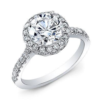 2.60 Ct Halo Round Cut Diamond Engagement Ring U-Setting Pave G,SI1 GIA Platinum