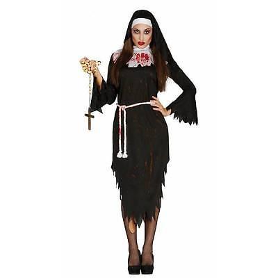 Zombie Sister NUN Bloody Ladies Halloween Fancy Dress Costume M/L