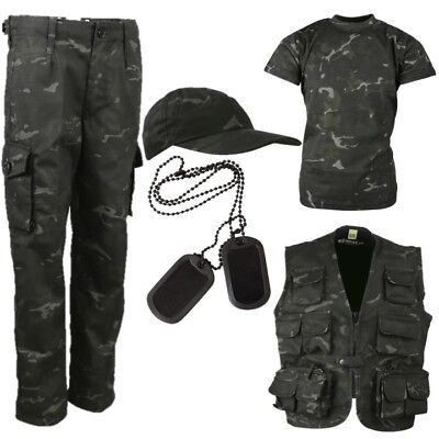 BOYS ARMY OUTFIT KIDS 3-13 YRS TROUSERS T-SHIRT VEST CAP DOG TAGS SAS BLACK CAMO (Childs Army Outfit)