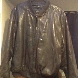 Brown elasticated waist leather jacket