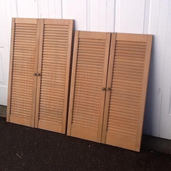"Unvarnished Louvre Doors 2 pairs will sell seperatelyin Llandudno, ConwyGumtree - 2 pairs unvarnished louvre doors. Ready to hang with hinges and knobs. £15 per pair. 42"" x15"" each door one pair 46"" X 15"" each door one pair Buyer to collect Deganwy area"