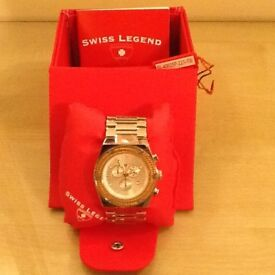 Swiss Legend Men's Throttle Chronograph watch with Rose Gold bezel and Stainless Steel Case