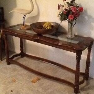 Wood/beveled glass sofa/hall table