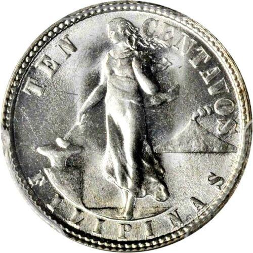 1945 D Philippines 10 Centavos Double Die, PCGS MS 65 Allen 9.05c Finest @ PCGS