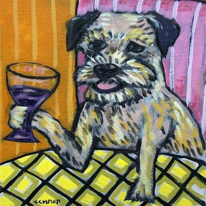 border terrier drink at the wine bar dog art tile coaster gift gifts coasters