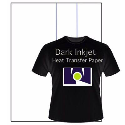 New Iron On Heat Transfer Paper Dark Colors T Shirt Inkjet Printer Bl 50 8.5x11