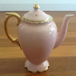 Crown Staffordshire Fine Bone China Pink and Gold Coffee Pot Taren Point Sutherland Area Preview