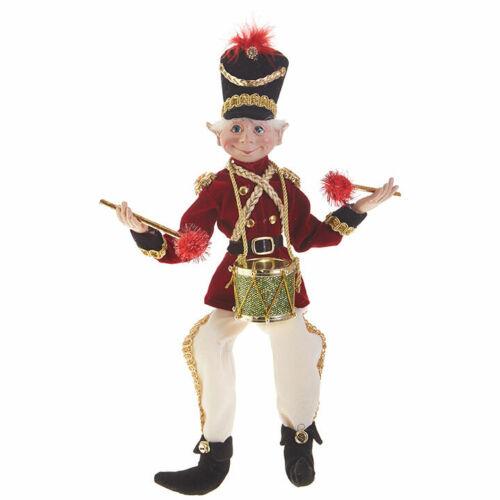 "RAZ Imports Posable Elf 16"" Drummer Boy Elves Christmas Decoration Drum Ornament"