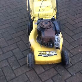 MCCulloch push petrol lawnmower for parts or repair c/w grass box