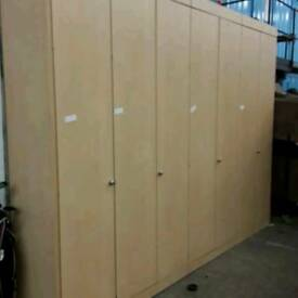 Modular office storage units.