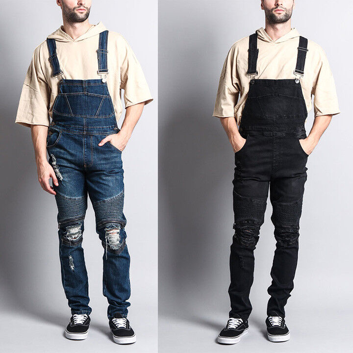 Men's Distressed Denim Carpenter Overalls Jumpsuits Moto Bik