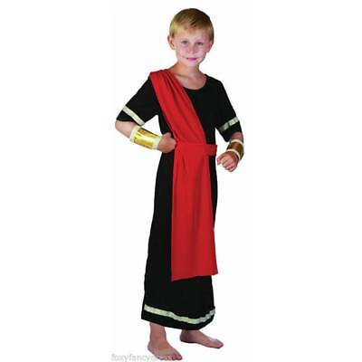 Boys Black Julius Caesar Robe Roman God Toga Fancy Dress Costume