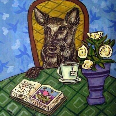 scottish terrier dog coffee PRINT on ceramic TILE coaster gift folk art JSCHMETZ ()