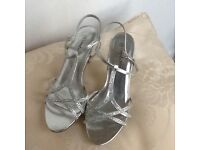 Silver evening sandals size 3