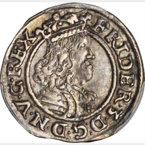 1668 Denmark 1/16 Speciedaler, Gluckstadt, Frederik III, PCGS AU 58