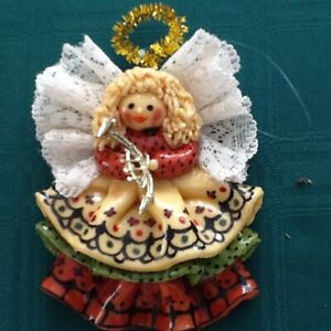 1992 hand crafted dough angel tree ornament  perfect condition