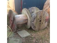 Wooden electric cable reel vintage spool drum great for garden or coffee table patio