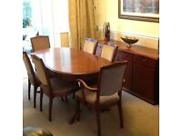 SUTCLIFFE DINNING TABLE AND SIX CHAIRS, SIDEBOARD WITH DRESSER TOP.
