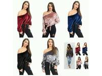 Velvet Off Shoulder Tie Top