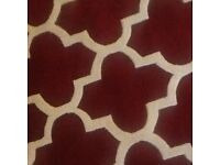 120cm X 180cm cherry red / white brand new still in packaging , hand tufted wool rug
