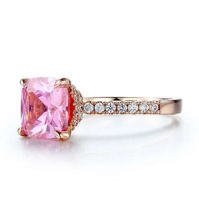 2Ct Cushion Cut Pink Sapphire Hidden Halo Engagement Ring 14K Rose Gold Finish