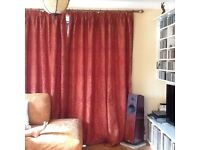 Luxurious fully lined red and gold dunelm curtains