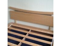 DOUBLE BED FRAME AND SILENTNIGHT MICROCOIL SPRING SYSTEM DOUBLE MATTRESS. EXCELLENT CONDITION.