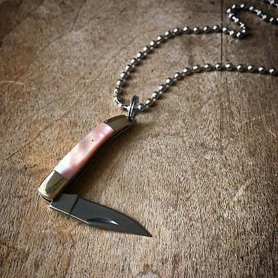 Mini Folding PINK ABALONE Pocket Knife Necklace 1 1/2
