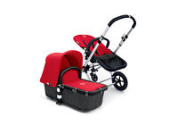 Bugaboo Cameleon complete with Travel Bag in Red (hood) and Black