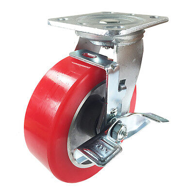 6 X 2 Aluminum Wheel Casters - Swivel With Brake