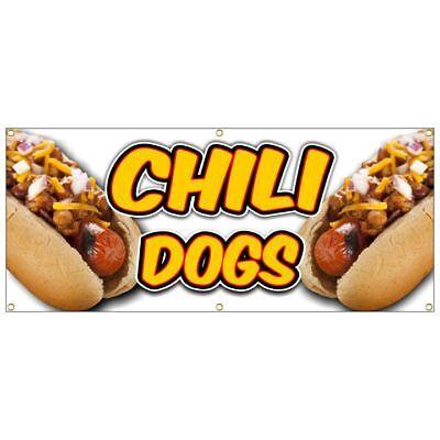 Chili Dog Banner  Deep Fried French Fries Fish Fry Hot Dog Burger Nachos Bbq 4