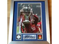 Official framed signed Wayne Rooney photograph holding the champions league cup ideal gift brand new