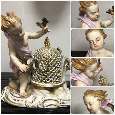 Very Rare Item  Old Meissen figurine bird cage doll good class Statue From JAPAN