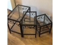 Glass and Black Metal Nest of Tables