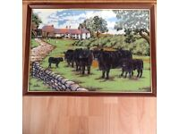 Cattle farm scene tapestry picture