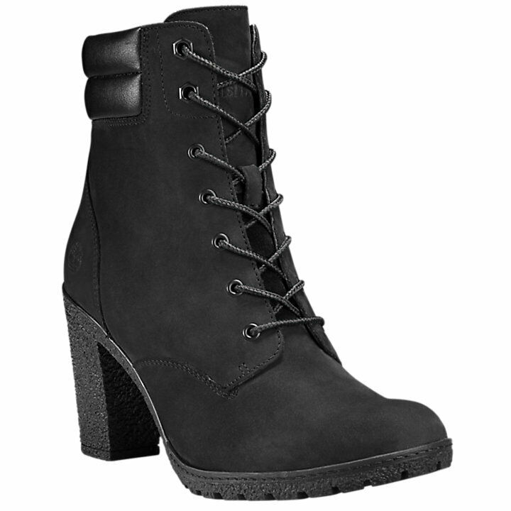 Timberland Womens Tillston High Heel Black Leather Boots Style A1H1I